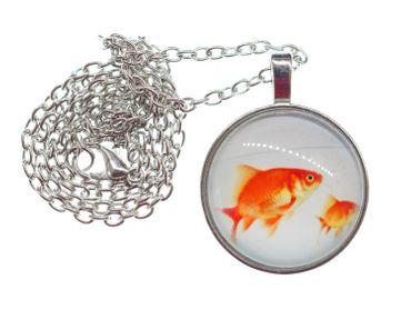 Goldfischglas Cabochon Kette Halskette Miniblings Aquarium Fisch Goldfische – Bild 2
