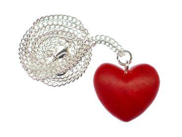 Herz Kette Halskette Miniblings Herzkette Valentinstag Liebe Rot Kette 45cm – Bild 1