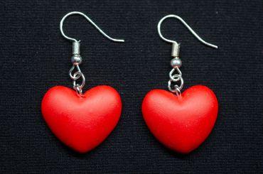 Herzen Ohrringe Miniblings Hänger Herz Valentinstag Rot Liebe Symbol Schmuck – Bild 3