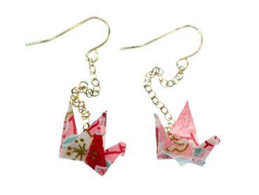 Crane Origami Earrings Miniblings Bird Origami Cranes Senbazuru Paper Pink – Bild 1
