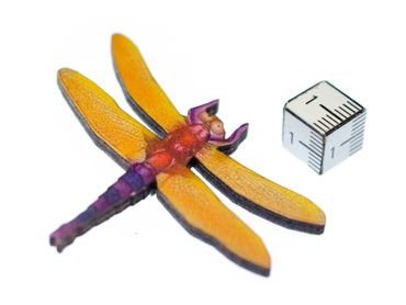 Dragonfly Brooch Miniblings Printed Wood Laser Cut Pin Wood Animal Insect Orange – Bild 2