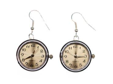 Uhr Funktioniert Ohrringe Miniblings Ohrhänger Snap Button Uhrzeit Armbanduhr – Bild 2