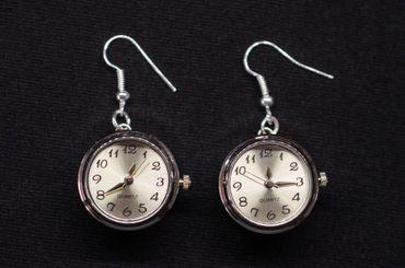 Uhr Funktioniert Ohrringe Miniblings Ohrhänger Snap Button Uhrzeit Armbanduhr – Bild 1