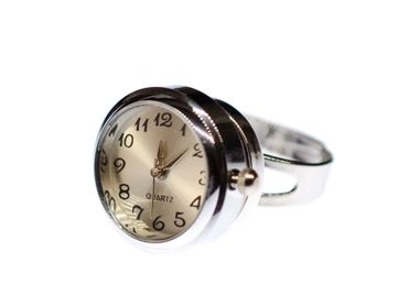 Real Watch Ring Miniblings Finger Ring Clock Wristwatch Time Snap-Button Snap Button – Bild 1