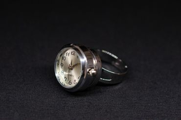 Real Watch Ring Miniblings Finger Ring Clock Wristwatch Time Snap-Button Snap Button – Bild 3