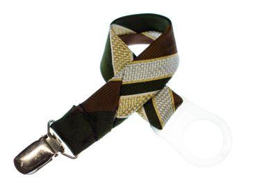 Schnullerkette Krawatte Miniblings Handarbeit Baby Schnullerband Upcycling Braun – Bild 1