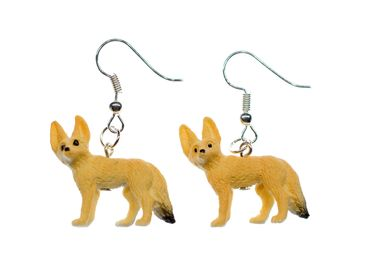 Desert Fox Earrings Foxes Miniblings Rubber Animal Brown 30mm Vulpine Fennec – Bild 1