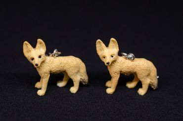 Desert Fox Earrings Foxes Miniblings Rubber Animal Brown 30mm Vulpine Fennec – Bild 3