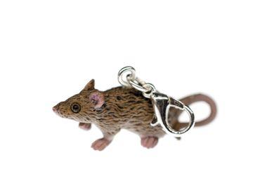 Ratte Charm Maus Zipper Pull Anhänger Miniblings Tier Gummi Nagetier grau – Bild 3