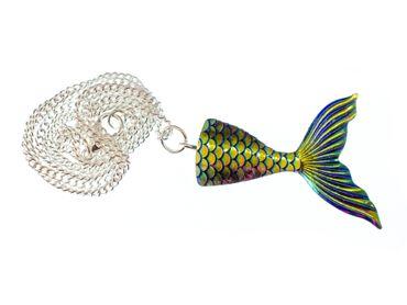 Mermaid Flapper Necklace 45cm Miniblings Mirror Bluegreen Ocean Sea – Bild 1