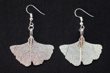 Gingko Leaf Skeleton Earrings Miniblings Hangers Leaves Tree China Ginkgo – Bild 2