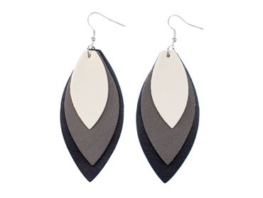 Leaf Leather Earrings Miniblings Danglers Autumn Leaves Feather Tricoloured Black – Bild 1
