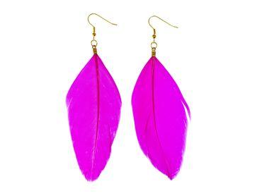 Feather Earrings Miniblings Danglers Bird Feathers Fly Boho Hippie Birds Pink – Bild 1