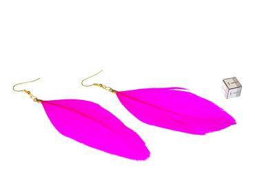 Feder Ohrringe Miniblings Hänger Vogelfeder Vögel Vogel Fliegen Boho Hippie Pink – Bild 3