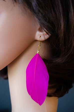 Feder Ohrringe Miniblings Hänger Vogelfeder Vögel Vogel Fliegen Boho Hippie Pink – Bild 4