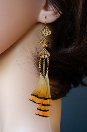 Feather Earrings Triangle Miniblings Danglers Bird Feathers Hippie Boho Gold – Bild 7
