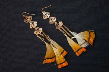 Feather Earrings Triangle Miniblings Danglers Bird Feathers Hippie Boho Gold – Bild 6