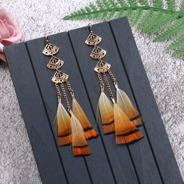 Feather Earrings Triangle Miniblings Danglers Bird Feathers Hippie Boho Gold – Bild 4