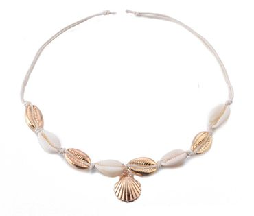 Shell Anklet Miniblings Beach Summer Holiday Sun Sea Ankle Bracelet Golden White – Bild 1