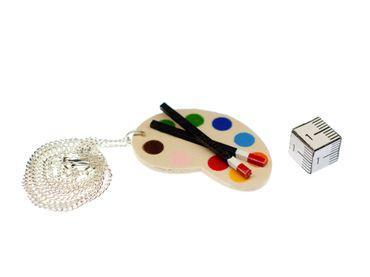 Malerpalette Kette 45cm Stoff Miniblings Halskette Farben Künstler Pinsel Holz – Bild 2