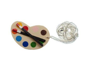 Malerpalette Kette 45cm Stoff Miniblings Halskette Farben Künstler Pinsel Holz – Bild 1