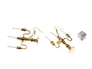 Kerzenleuchter Ohrringe 3-armig Kerzenständer Miniblings Lampe Leuchter golden – Bild 3