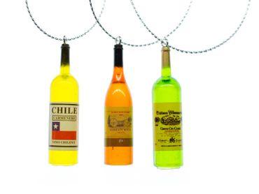 10 Stück Weihnachtsbaumanhänger Miniblings Christbaumschmuck Wein Flasche bunt – Bild 2