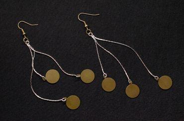Kettchen Bronze Scheiben Ohrringe Miniblings Hänger Ohrschmuck Boho Style DIY Bronze – Bild 2