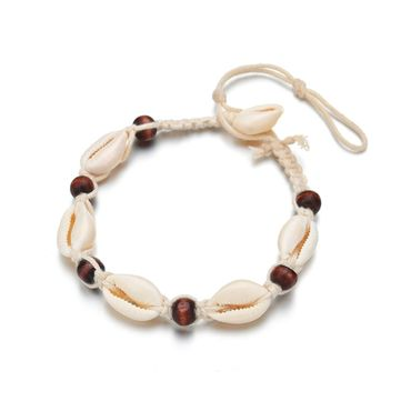 Shell Wooden Bead Anklet Miniblings Beach Summer Holiday Ankle Bracelet Ocean White – Bild 2