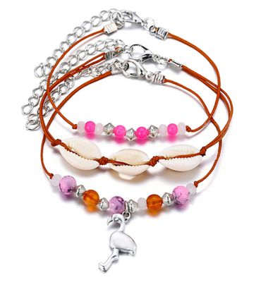 3pcs Shell Bead Flamingo Anklet Miniblings Beach Summer Ankle Bracelet Brown – Bild 2