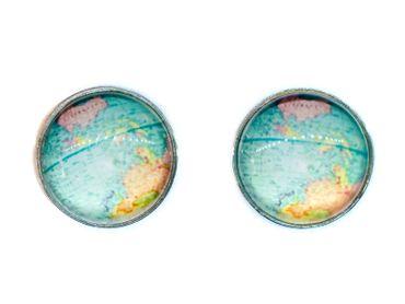 Cabochon Ear Studs World Globe Space Maps Kawai Map Earrings Miniblings Blue – Bild 1