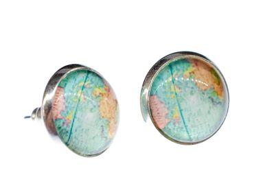 Cabochon Ohrstecker Globus Welt Weltkarte Miniblings Stecker Landkarten Blau – Bild 2