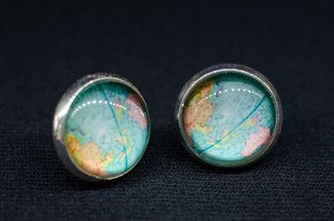 Cabochon Ear Studs World Globe Space Maps Kawai Map Earrings Miniblings Blue – Bild 4