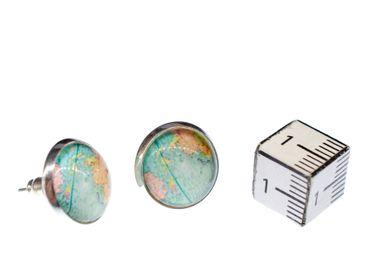 Cabochon Ear Studs World Globe Space Maps Kawai Map Earrings Miniblings Blue – Bild 3
