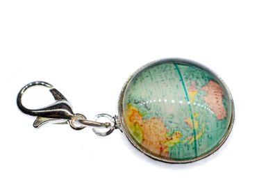 Cabochon Charm World Globe Bracelet Maps Kawai Map Geography Pendant Zipper Blue – Bild 1