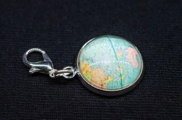 Cabochon Charm Globus Weltkarte Welt Miniblings Anhänger Charms Armband All Blau – Bild 3