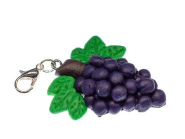 Traube Weinkönigin Charm Weintraube Wein Obst Miniblings Anhänger Armband Rot  – Bild 1