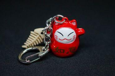 Glückskatze + Fisch Schlüsselanhänger Miniblings Anhänger Glück Katze Winkekatze – Bild 3
