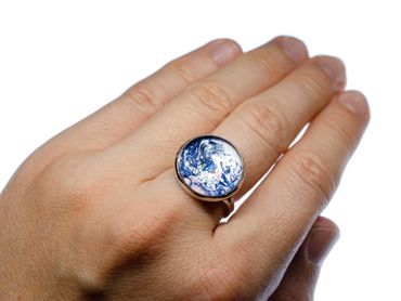 Cabochon Ring World Earth Satellite Space Maps Geography Rings Miniblings Blue – Bild 4