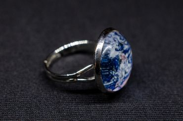 Cabochon Ring World Earth Satellite Space Maps Geography Rings Miniblings Blue – Bild 3