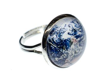 Cabochon Ring World Earth Satellite Space Maps Geography Rings Miniblings Blue – Bild 1