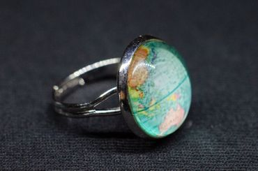 Cabochon Ring World Globe Maps Space Map Geography Rings Fingerring Earth Blue – Bild 4