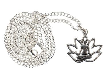 Lotus Position Yoga Necklace 45cm Pendant Miniblings Relaxation Yoginis Argentine  – Bild 1