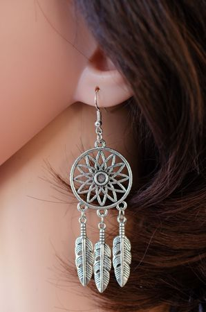 Dreamcatcher Earrings Danglers Hangers Miniblings Spirit Dreaming Dreams Feather – Bild 4