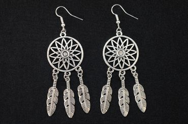 Dreamcatcher Earrings Danglers Hangers Miniblings Spirit Dreaming Dreams Feather – Bild 3