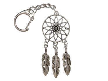 Traumfänger Schlüsselanhänger Miniblings Traum Spirituell Indianer Boho Silbern – Bild 1