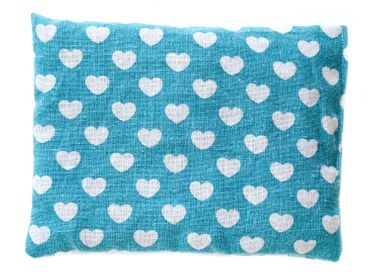 Cherry Pit Pillow Cushion Health Cold Cough Miniblings 23x17cm Hearts Turquoise – Bild 1