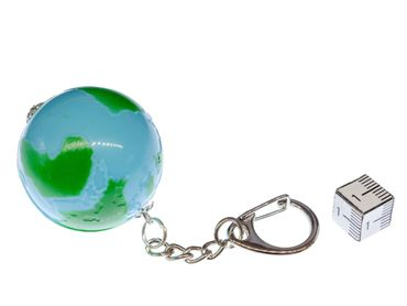 Globe Key Chain Miniblings Zipper World Planet Earth Space Moon Blue Green – Bild 2