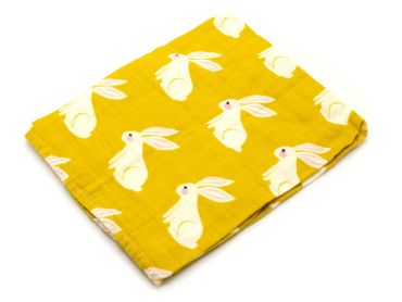 Baby Scarf Burp Cloth Bandana Kid Children Miniblings Bunny Print Mustard Yellow – Bild 2
