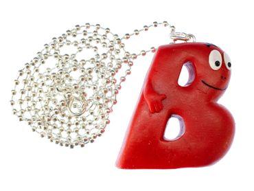 B Barbapapa Necklace 80cm Miniblings Pendant Letter Initial ABC Barbamama Red – Bild 1